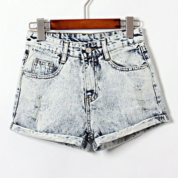 Hot 2014 Summer Spring New Fashion Casual High Waist Sexy Slim Cuffs Bleached Cotton Women Jeans Denim Shorts