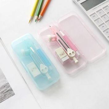 Candy color  simple  solid color pencil compasses  three sets of rulers  drawing tools  learning stationery