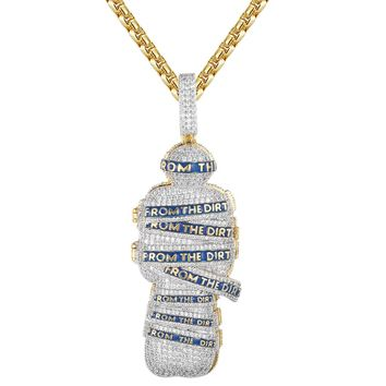 Men's Casket Coffin Grave From the Dirt Iced Out Custom Pendant