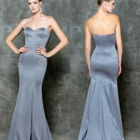 GLOW G663 Strapless Sweetheart Sweep Train Prom Evening Dress