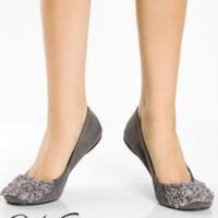 Concord Gray Suede Roses Abound Ballet Flat