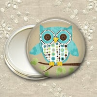 cute owl pocket mirror, 3.5 inch compact mirror, owl hand mirror, mirror for purse, bridesmaid gift  MIR-109