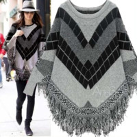 Fashion Gray Geometric Print Long Sleeves Tassel Knitted Poncho Sweater Best Gift