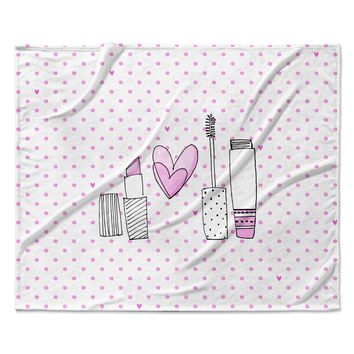 "MaJoBV ""Girls Luv"" Pink Makeup Fleece Throw Blanket"