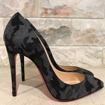 NIB Christian Louboutin Pigalle Follies 100 Black Grey Fusain Camo Pump Heel 36