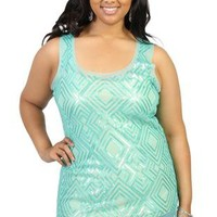 plus size mesh sequin tank top - debshops.com