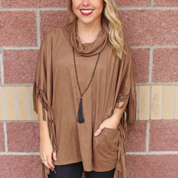 Fringe suede cowl neck poncho