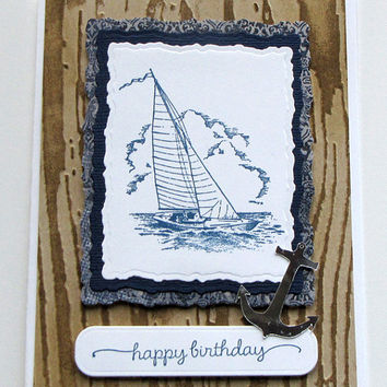 Birthday Card, Sailboat, Anchor, Hand Stamped, Greeting Card, guy card, nautical, masculine