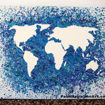 World Map Canvas Painting - Travel Artwork Wanderlust Abstract Acrylic Painting - Map of the World Teal Wall Art - Blue Home Decor Traveler