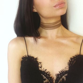 Isabella - Tan Faux Leather Six Strand Choker