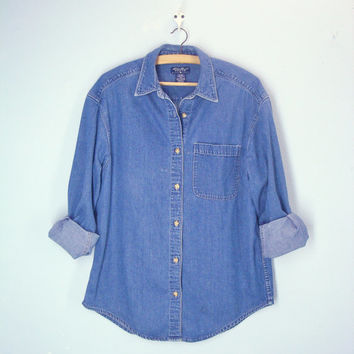 Vintage 80s Denim Shirt / Eddie Bauer Mens Shirt / Slouchy Denim Shirt / med
