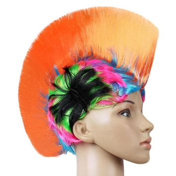 Rainbow Mohawk Hair Wig Rooster Fancy Costume
