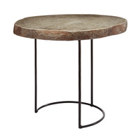 Lazy Susan Short Stone Slab & Wire Frame Table - 159-010