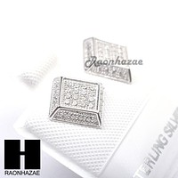 Iced Out Sterling Silver .925 Lab Diamond 8mm Square Screw Back Earring SE018S
