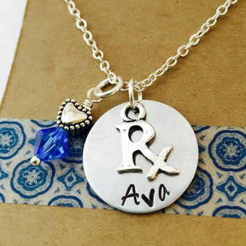 Phamacist Necklace, Swarovski Crystal Birthstone Sterling Silver Plated Chain, Medical Charm Necklace, RX Necklace, Pharmacy Tech