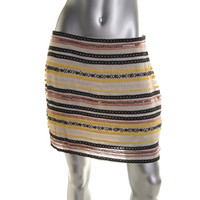 Willow & Clay Womens Beaded Lace Trim Mini Skirt