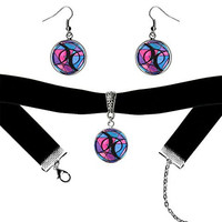 Bisexual Love Black Velvet Choker & Silver Hypoallergenic Surgical Steel Earrings Set