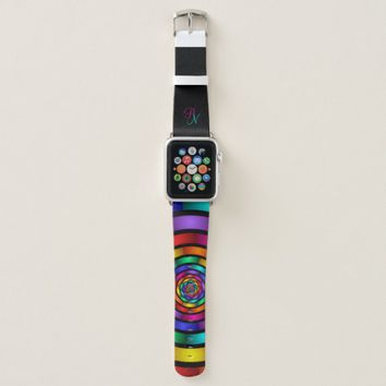 Round and Psychedelic Colorful Modern Art Monogram Apple Watch Band