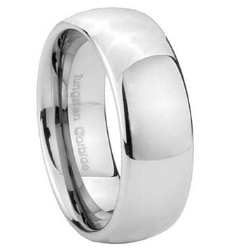 8MM Tungsten Carbide Classic Mirror Dome Men Bands Ring
