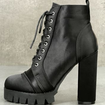 Ynez Black Satin Lace-Up Platform Booties