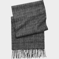 Joseph & Feiss Gray Woven Plaid Wool Scarf - Scarves, Gloves & Umbrellas | Men's Wearhouse