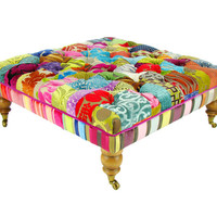 Bespoke Large Patchwork Footstool/Coffee Table in Designers Guild Fabrics