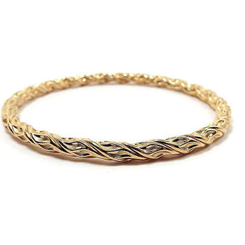 Vintage Bangle Bracelet Gold Tone Twisted Textured Metal Retro Womens 1980s 80s Boho Jewelry