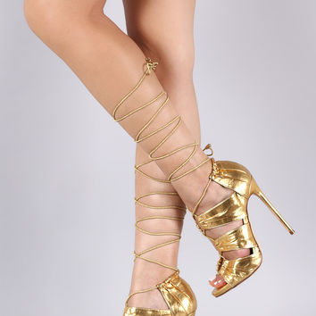Liliana Ruffled Panels Drawstring Lace-Up Stiletto Heel