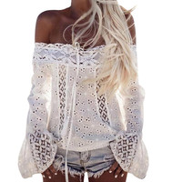 Women Lace Tops Casual Long Sleeve Off The Shoulder Tops Women Sexy Bikini Cover up Female Clothing