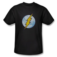 The Flash Neon Distressed Logo Mens Black T-Shirt