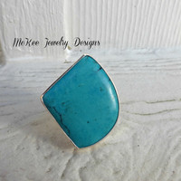 Turquoise stone. Fine silver, Sterling silver gemstone ring. High quality genuine stone.