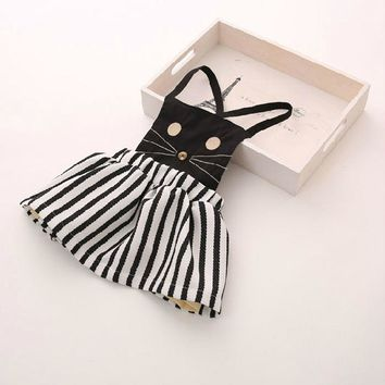 Free shipping,Hot sale clothes child clothing ,Casual,baby girl clothing,cat,Summer autumn cat dress dresses,Korean,girl dress