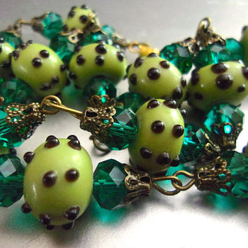 Green Wedding Cake Glass Necklace, Teal Rhinestones, Fiorato Vintage