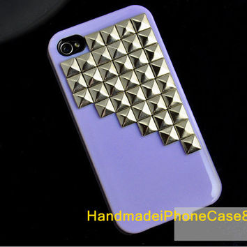 Handmade Studded iPhone 4 case, iPhone 4s case, Purple Hard Case for iPhone 4,iPhone 4 Case, iPhone Case With Antique Silver pyramid stud