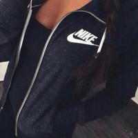 "Women ""NIKE"" Casual Hooded Zip Knitwear Cardigan Sweatshirt Jacket Coat [9240261767]"