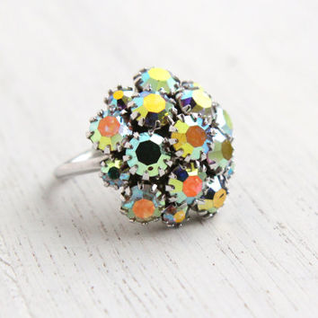 Vintage Aurora Borealis Rhinestone Ring - Retro Sarah Coventry 1960s Silver Tone Adjustable Costume Jewelry / Nite Lites Cocktail Cluster