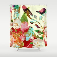 clown floral Shower Curtain by Clemm