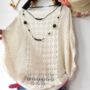 Autumn Women Casual Knitted Sweater Hollow Out Crochet Loose Batwing Pullovers one size = 1946322500