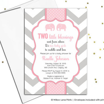 Twins Baby Shower Invitation, Elephant Baby Shower Invitation, Twin Girl Baby Shower Invitation, Chevron Baby Shower Invitation (795)