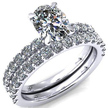 Mylene Oval Moissanite 4 Prong Sculptural Half Eternity Diamond Engagement Ring