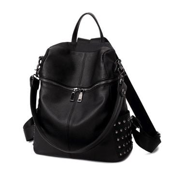 Multifunctional Punk Studded Large Leather Backpack Daypack Travel Bag Day-First™