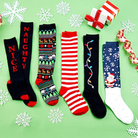 5 Pair Holiday Fun Sock Set. Fun to Mix and Match. Knee Highs.