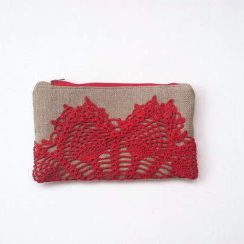 Red Linen Burlap Vintage Doily Zipper Clutch - Cherry Red Lace Clutch