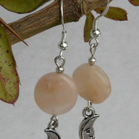 Peach Avenurine with Crescent Moon Earrings