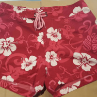 Pink with White Plumerias Womens Board Shorts