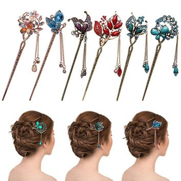 Vintage Fashion Jewelry Crystal Hairpin Headdress Blue Crystal Hair Sticks Hairpin For Women Girl Hair Accessories