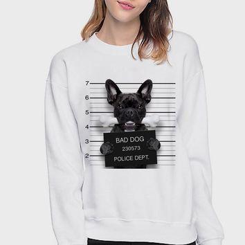 2018 Winter Fashion French Bulldog Design Lovely Hoodies Women Printing White Long Sleeve Hooded Pullover Sweatshirts Clothes