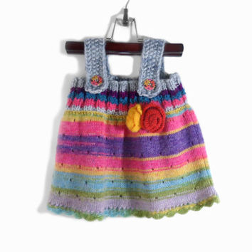Knitted Girl Tunic Dress - Gray Multicolor, 9 - 12 months
