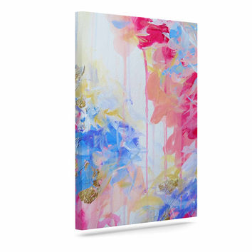 "Ebi Emporium ""Whispered Song 1"" Blue White Canvas Art"