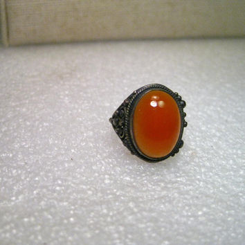 Vintage Ring Sterling Silver Beduoin Carnelian Ring, size 3.75, oval, domed, 2.37 gr. Mid-to-Post Century